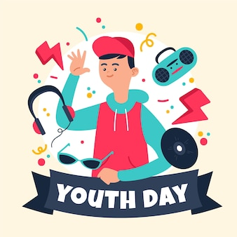 Hand-drawn youth day concept
