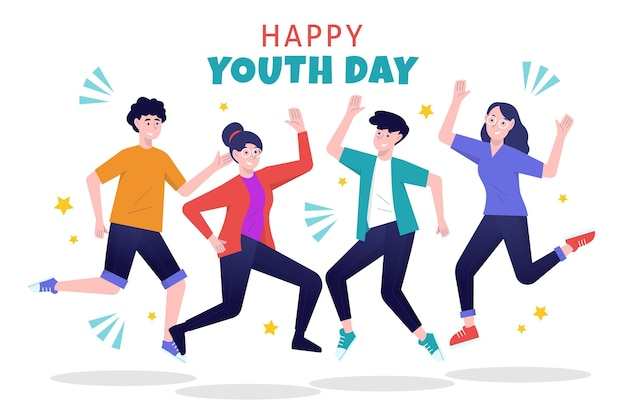 Hand drawn youth day jumping people
