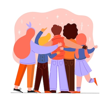 Hand drawn youth day - people hugging together