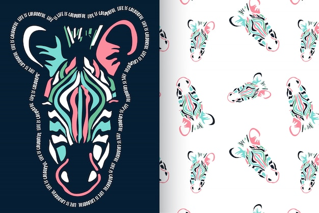 Hand drawn zebra with pattern vector set