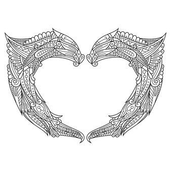 손으로 그린 Zentangle 심장 그림 프리미엄 벡터
