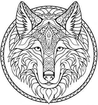 Hand drawn zentangle wolf head for adult and children coloring book page