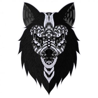 手描きzentangleオオカミの頭のイラスト
