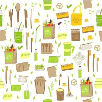 Набор рисованной нулевых отходов концепции. никаких пластиковых элементов экологической жизни: многоразовой бумаги, бамбука, дерева, тканевых хлопчатобумажных мешков, стекла, банок, столовых приборов. вектор пойти зеленый, био логотип или знак. шаблон органического дизайна
