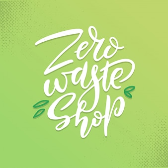Hand drawn zero waste shop logo or sign
