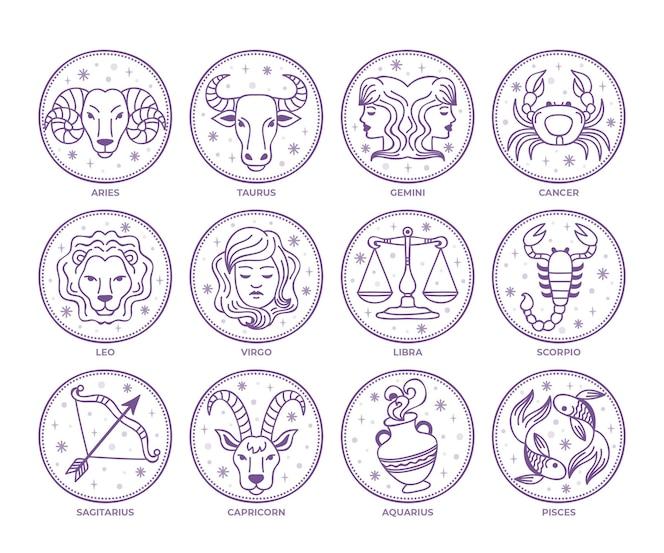 Hand drawn zodiac sign set