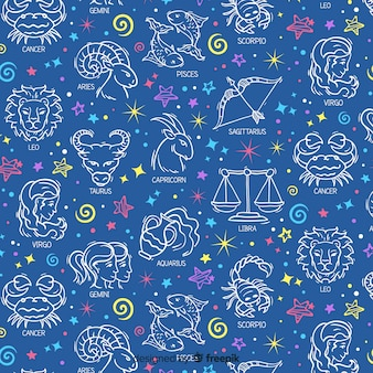 Hand drawn zodiac signs pattern