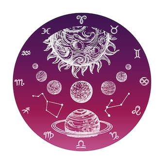 Hand drawn zodiac signs and planetary system
