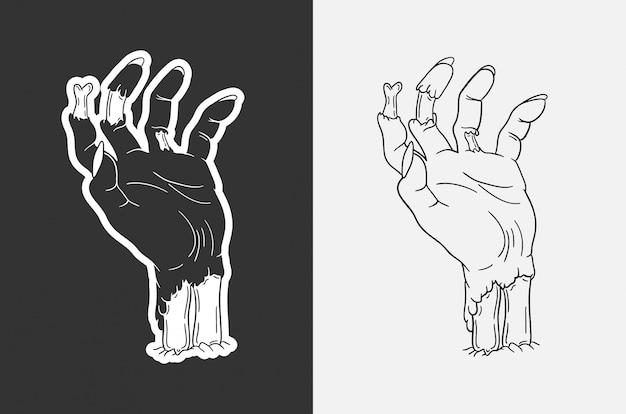 手描きのゾンビの手のイラスト