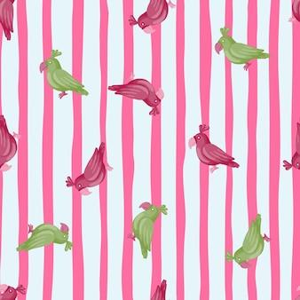 임의의 보라색과 녹색 앵무새 모양으로 손으로 그린 동물원 이국적인 매끄러운 패턴입니다. 줄무늬 배경입니다. 직물 디자인, 직물 인쇄, 포장, 덮개에 적합합니다. 벡터 일러스트 레이 션.