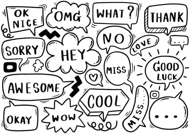 Hand drawnset of cute speech bubble eith text in doodle style