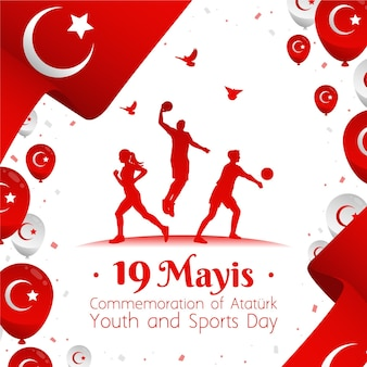 Hand drawnturkish commemoration of ataturk, youth and sports day illustration