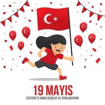 Hand drawnturkish commemoration of ataturk, youth and sports day illustration