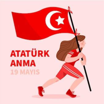 Commemorazione turca disegnata a mano di ataturk, illustrazione della giornata della gioventù e dello sport