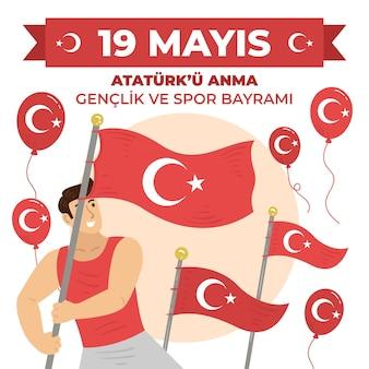 アタテュルク、青年、スポーツデーのイラストの手描きトルコ記念