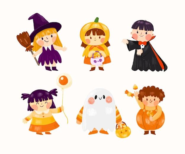 Hand draws halloween costume collection