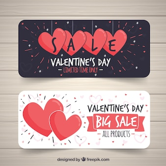 Hand drawvalentine's day sale banners