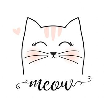Hand drown kitty cat illustration