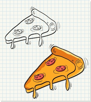 Hand drown set of pizza slice