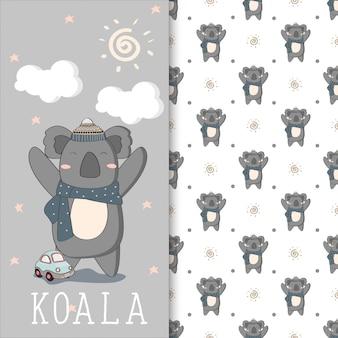 Hand drwan illustration of cute koala with seamless pattern