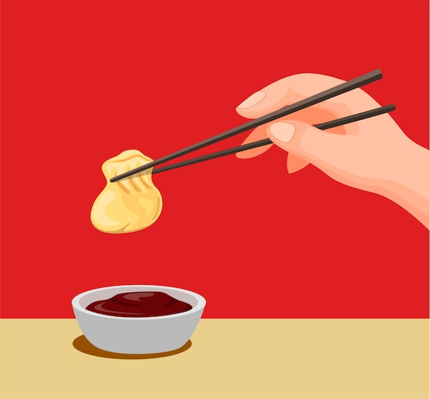 Hand dumpling with chopstick to sauce.traditional chinese food symbol in cartoon illustration