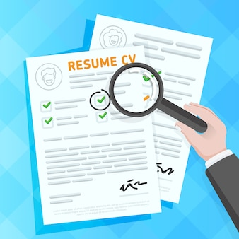 Hand examining resume forms