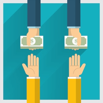 Hand  exchange money idea and one way provide benefit