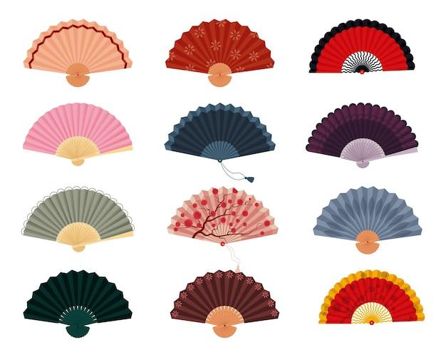 Ручной вентилятор набор в японском, испанском и китайском стиле на веере векторная изолированных иллюстрация