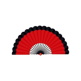 Ручной вентилятор традиционный азиатский портативный элемент в восточном стиле изолированные векторные иллюстрации