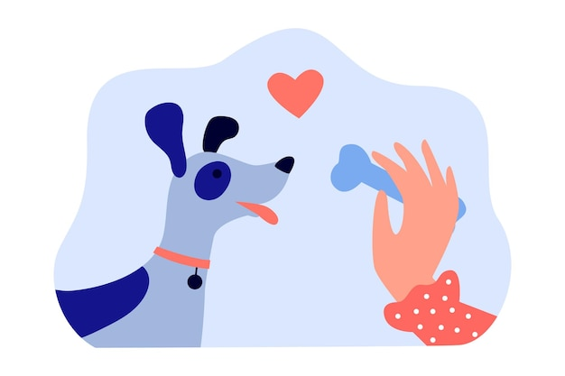 Hand of female dog owner holding bone for cute puppy. woman giving treat to domestic animal  offering flat vector illustration. pets, love concept for banner, website design or landing web page