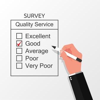 Hand filling on survey form concept