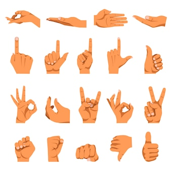 Hand and finger gestures vector flat isolated icons set