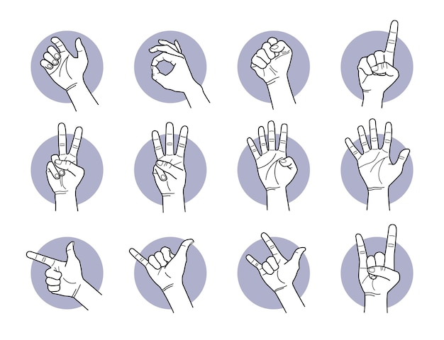 Hand and finger gestures. vector illustrations of different hand signals and poses.