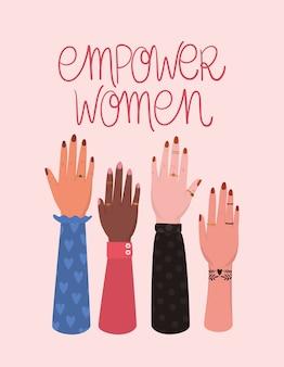 손 주먹과 여성 권한 부여 규칙. 여성 파워 페미니스트 개념 그림