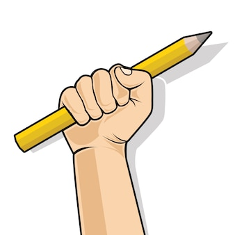Hand in a fist holding a pencil