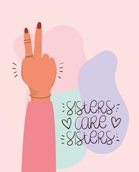 Hand fist and sisters care sisters of women empowerment. female power feminist concept illustration