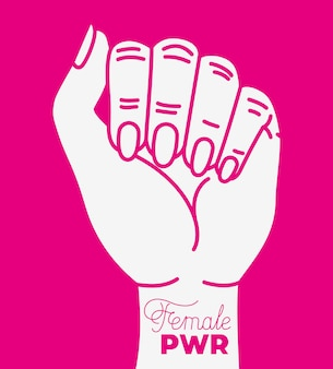 Hand fist with girl power phrase