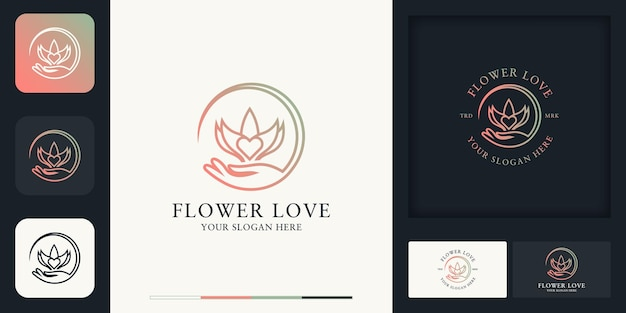 Hand flower love combination logo and business card design