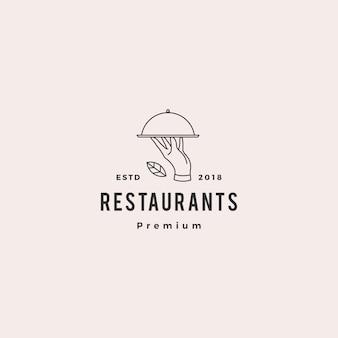 Hand food plate logo vector icon illustration line outline monoline
