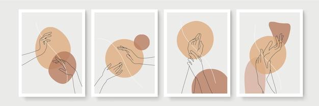 손 제스처 boho 스타일 벽 예술 장식. 크리 에이 티브 미니멀 손으로 그리는 추상 미술. 현대 삽화. 보헤미안 스타일 컬렉션