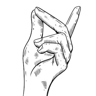 手のジェスチャークリックイラスト