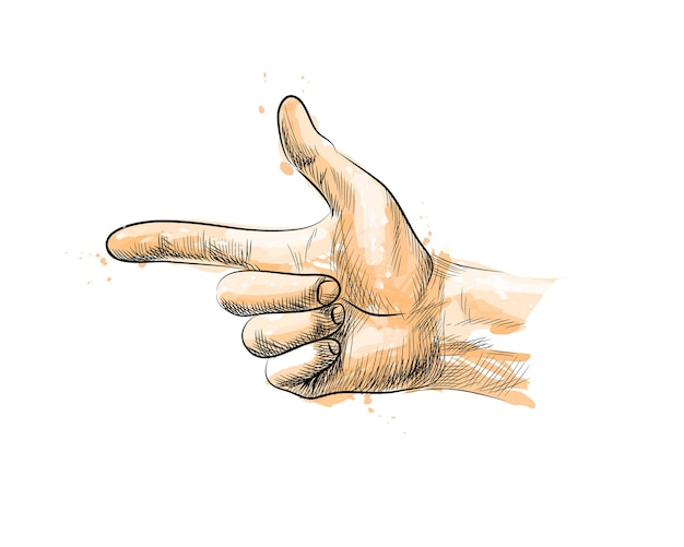Hand gesture, finger gun from a splash of watercolor, hand drawn sketch.  illustration of paints