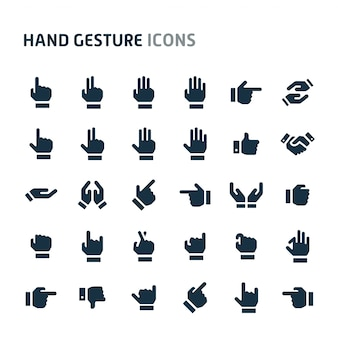 Hand gesture icon set. fillio black icon series.