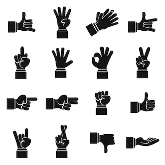 Hand gesture icons set, simple ctyle