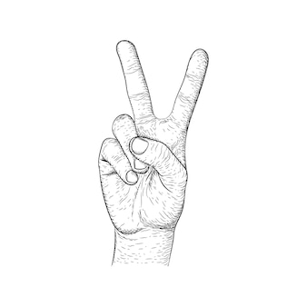 Hand gesture making victory sign