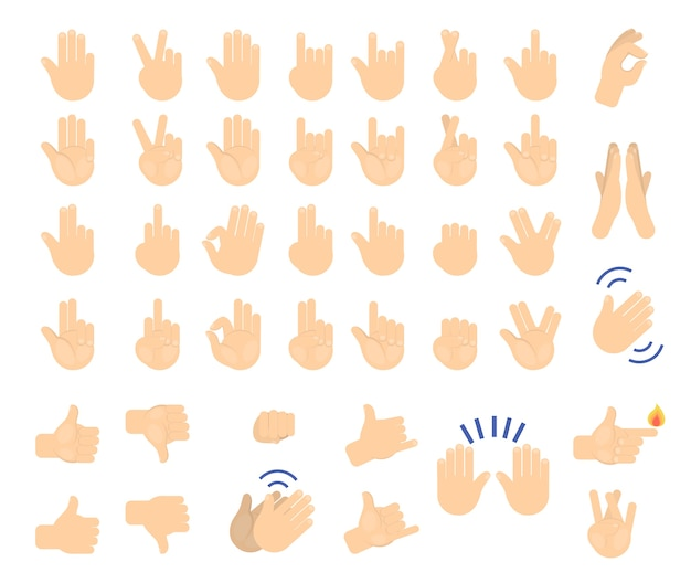 Hand gesture set. collection of human palm