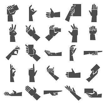 Силуэт жест рукой. указывая рукой жест, давая горсть и держать в руке вектор значок иллюстрации набор