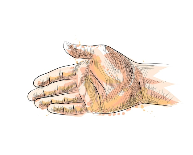 Hand gesture, stretching hand to handshake from a splash of watercolor, hand drawn sketch.  illustration of paints