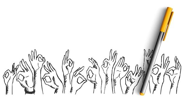 손 제스처 낙서. 손으로 그린 스케치의 컬렉션입니다. 펜 연필 잉크 확인 표시처럼 표시하거나 함께 손바닥 손가락을 보여주는 인간의 손을 그리기.