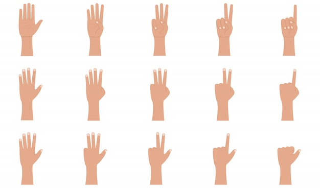 Hand gestures icons set in flat style.
